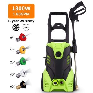 Homdox HX4000 Electric Pressure Washer, 1.80GPM 1800W High Power Washer Cleaner Machine W/ 5 Nozzles,Total Stop System,Rolling Wheels (Classic Model - 1.80GPM)